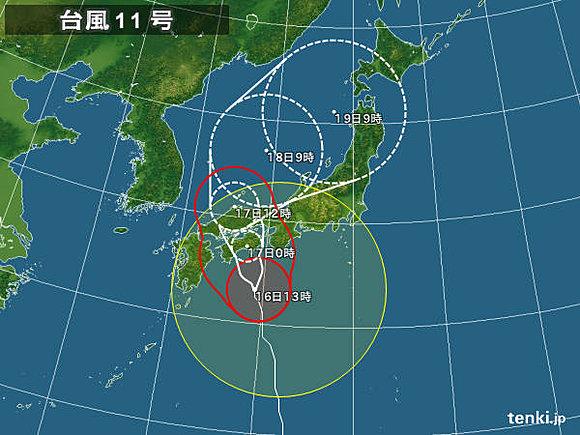 「台風第11号」深夜に四国に上陸。東日本も、暴風、高波、大雨に注意