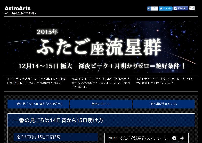三大流星群「ふたご座流星群」2015/12/14~12/15