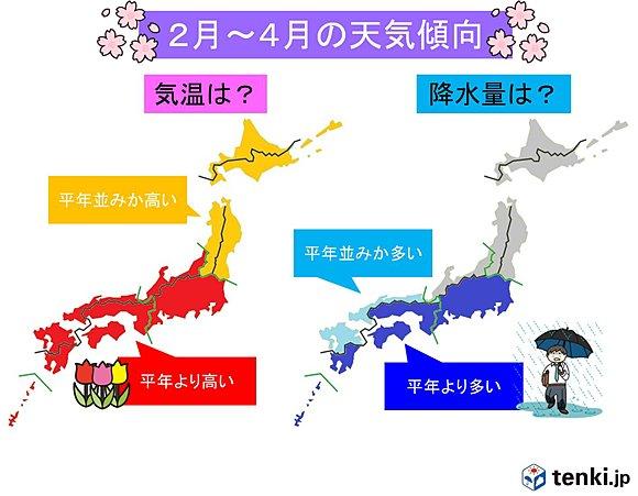 3か月予報【2月】急に春めく【3月】春の雨【4月】花曇り 2016/2~2016/4