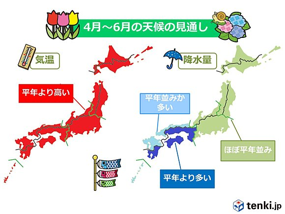 3か月予報 気温は高く 雨が多い(日直予報士) - tenki.jp