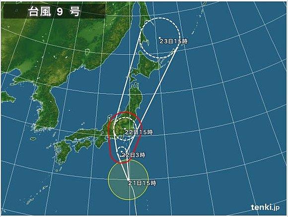 台風9号は首都圏直撃 各地の警戒期間(日直予報士) - tenki.jp