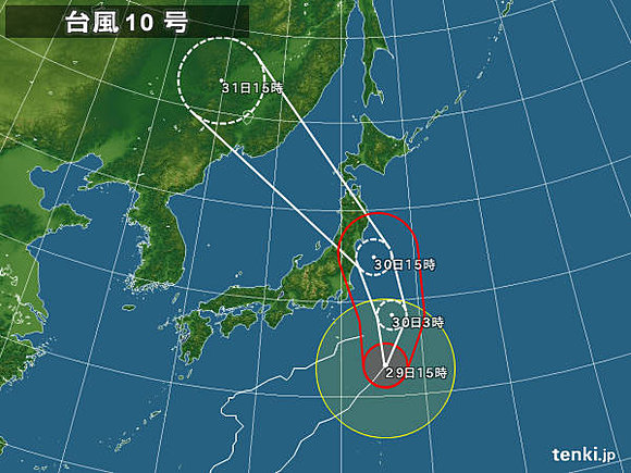 台風10号 東北に上陸のおそれ(日直予報士) - tenki.jp