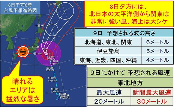 台風接近 日本列島は猛烈な暑さ(日直予報士) - tenki.jp