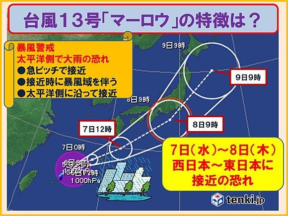 台風13号「マーロウ」の特徴は(日直予報士) - tenki.jp