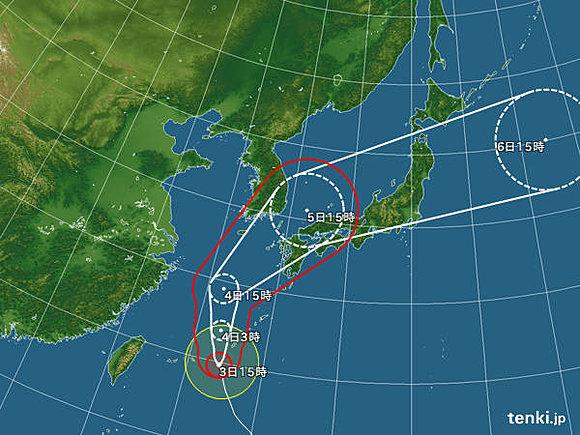 猛烈な台風18号 発達ピークに(日直予報士) - tenki.jp