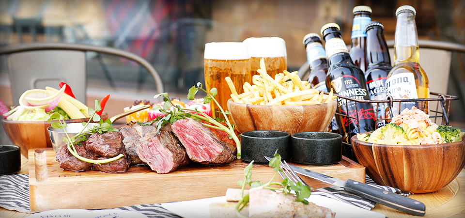 【ビアテラス】お野菜もお肉も!開放的テラスで楽しむ肉コンボなど料理&フリードリンクプラン