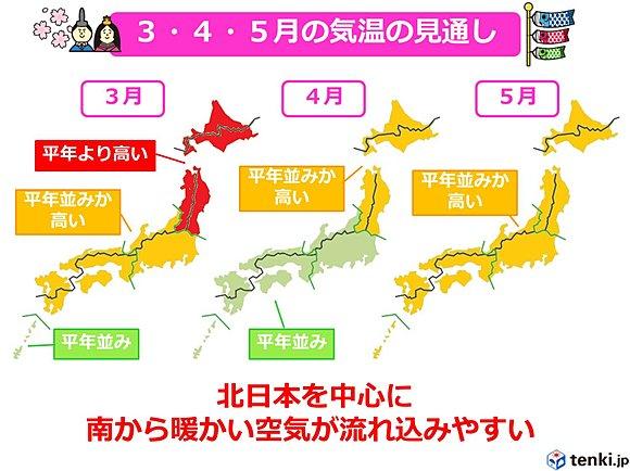 厳冬から一転、高温の春 3か月予報(日直予報士) - tenki.jp