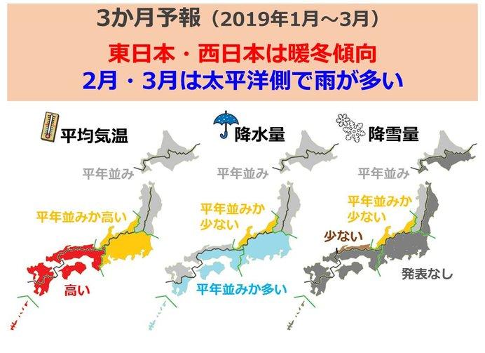 3か月予報 東・西で暖冬 太平洋側雨多い(日直予報士)