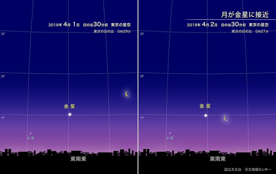 月が金星に接近(2019年4月) | 国立天文台(NAOJ)