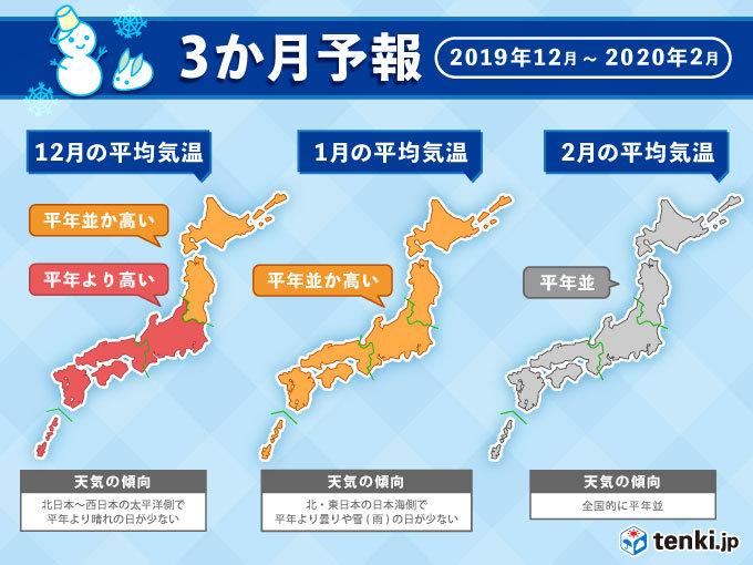 3か月予報 この暖かさは冬も続く見通し(日直予報士 2019年11月25日) - 日本気象協会 tenki.jp