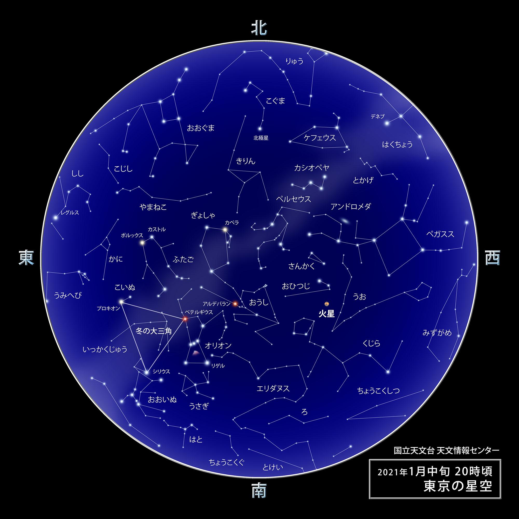 東京の星空・カレンダー・惑星(2021年1月) | 国立天文台(NAOJ)
