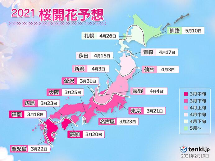 2021年桜開花予想 全国的に平年より早く トップは福岡で3月18日!(日直予報士 2021年02月10日) - 日本気象協会 tenki.jp