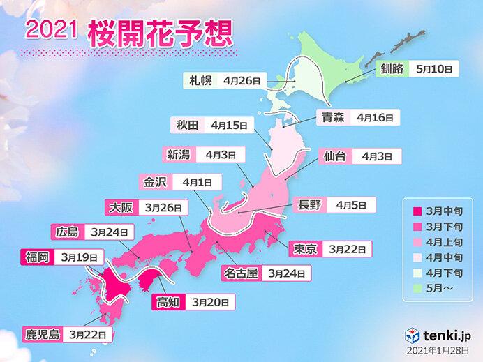 2021年桜開花予想 全国的に平年より早い開花に 日本気象協会発表(日直予報士 2021年01月28日) - 日本気象協会 tenki.jp