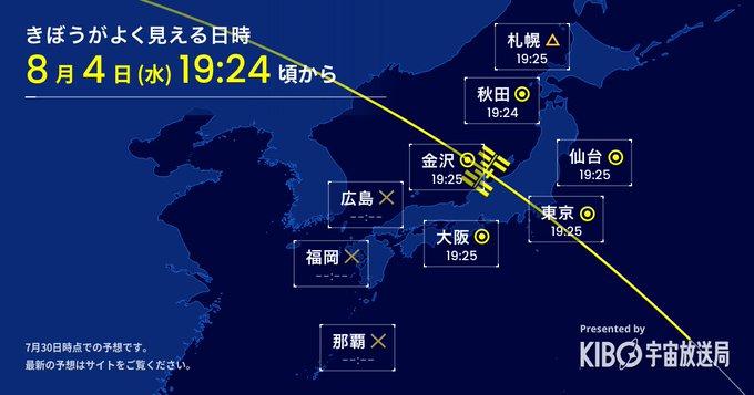 星出さんが滞在している「きぼう」日本実験棟/ISSを見よう 2021/8/1, 8/4