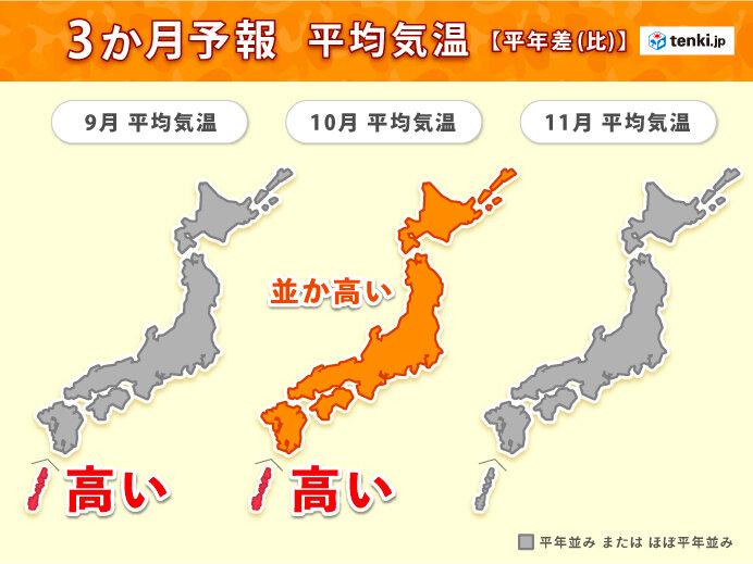 季節の歩みはゆっくり 台風と秋雨前線の動向に注意 3か月予報(気象予報士 福冨 里香 2021年08月25日) - 日本気象協会 tenki.jp