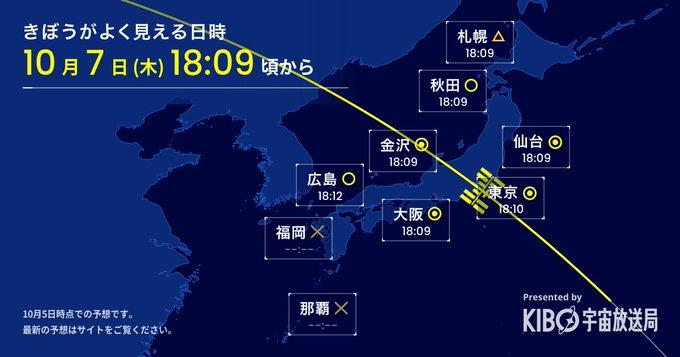 星出さんが滞在している「きぼう」日本実験棟/ISSを見よう 2021/10/7